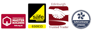 Gas Safe Registered. FMB. Federation Of Master Builders. Edinburgh Trusted Trader. Safe Contractor.
